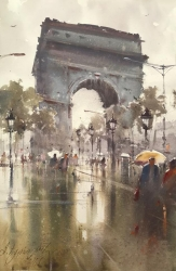 dusan-djukaric-arc-de-triomphe-paris-watercolor-36x55-cm