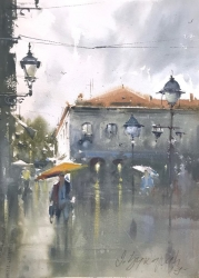 dusan-djukaric-at-the-end-of-knez-watercolor-26x36-cm