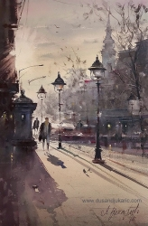 dusan-djukaric-autumn-in-my-city-watercolor-36x58-cm