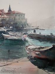 dusan-djukaric-boats-in-perast-2-watercolor-49x36-cm