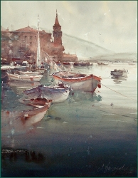 dusan-djukaric-boats-in-perastu-watercolor-54x74-cm