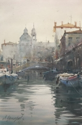 dusan-djukaric-boats-in-the-canals-of-venice-watercolor-36x55-cm