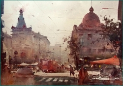 dusan-djukaric-domes-in-resavska-street-watercolor-54x74-cm