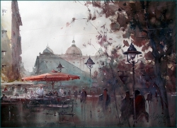 dusan-djukaric-espresso-at-noon-in-the-square-watercolor-76x56-cm