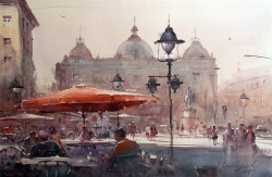 dusan-djukaric-espresso-on-the-square-watercolor-36x55-cm-gallery