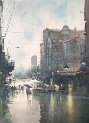 dusan-djukaric-first-autumn-rain-in-knez-watercolor-54x74-cm