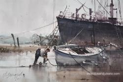 dusan-djukaric-fisherman-and-boats-watercolor-56x37-cm