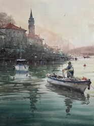 dusan-djukaric-fisherman-in-perast-watercolor-74x54-cm