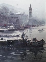 dusan-djukaric-fishermen-on-the-dock-perast-watercolour-36x26cm