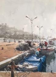 dusan-djukaric-fishing-harbour-in-kalamaria-watercolor-54x74-cm