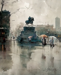 dusan-djukaric-knez-on-the-square-watercolor-49x65-cm