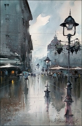 dusan-djukaric-lamps-on-the-square-watercolor-36x55-cm