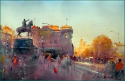 dusan-djukaric-late-afternoon-on-the-square-watercolor-36x55-cm-gallery