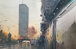 dusan-djukaric-late-afternoon-watercolor-36x56-cm