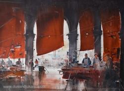 dusan-djukaric-market-in-venice-watercolor-74x54-cm