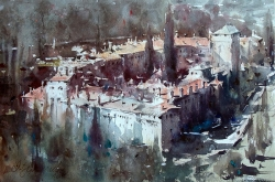 dusan-djukaric-monastery-hilandar-greece-watercolor-56x36-cm
