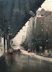 dusan-djukaric-morning-at-the-start-of-knez-watercolor-54x74-cm