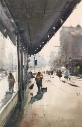 dusan-djukaric-morning-cleaner-in-knez-watercolor-36x55-cm