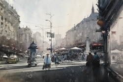 dusan-djukaric-morning-on-terazije-watercolor-36x55-cm