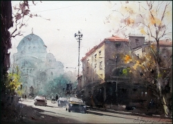 dusan-djukaric-morning-on-vracar-watercolor-54x74-cm
