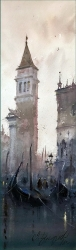 dusan-djukaric-morning-with-gondolas-watercolor-17x55-cm-gallery