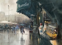 dusan-djukaric-near-the-square-watercolor-74x54-cm