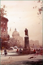 dusan-djukaric-nikola-pasic-square-watercolor-36x55-cm