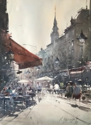 dusan-djukaric-noon-in-the-street-of-king-petra-watercolor-74x54-cm