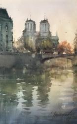 dusan-djukaric-notre-dame-watercolor-34x55-cm