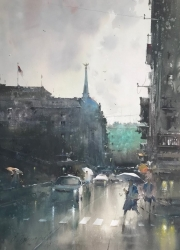 dusan-djukaric-old-palace-after-rain-watercolor-54x74-cm