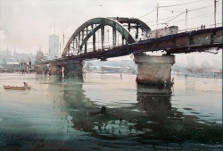 dusan-djukaric-old-sava-bridge-watercolor-36x52-cm-my-site