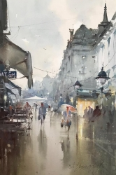 dusan-djukaric-rainy-day-in-knez-watercolor-36x55-cm