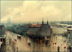 dusan-djukaric-rainy-day-in-my-town-belgrade-watercolor-54x74-cm