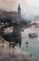 dusan-djukaric-rainy-day-in-perast-wtercolor-35x55-cm