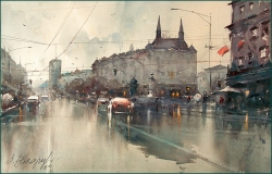 dusan-djukaric-rainy-day-in-terazije-watercolor-55x36-cm-gallery
