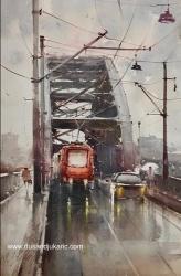 dusan-djukaric-rainy-day-on-old-bridqe-watercolor-55x36-cm