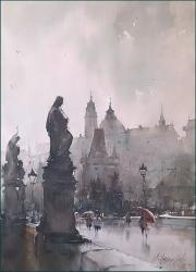 dusan-djukaric-rainy-prague-watercolor-54x74-cm