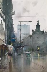 dusan-djukaric-rainy-reflection-watercolor-36x55-cm
