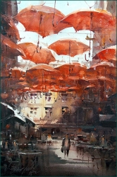 dusan-djukaric-red-umbrellas-watercolor-36x55-cm