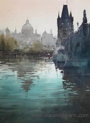 dusan-djukaric-reflection-on-vltava-watercolor-74x54-cm