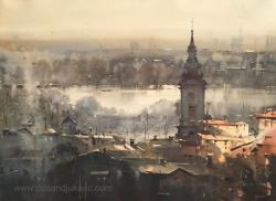 dusan-djukaric-roofs-of-belgrade-watercoloor-54x74-cm