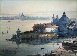 dusan-djukaric-santa-maria-della-salute-watercolor-27x37-cm