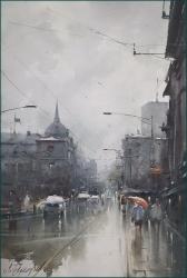 dusan-djukaric-street-of-king-milan-watercolor-36x55-cm