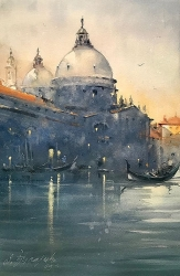 dusan-djukaric-the-blueness-of-venice-watercolor-36x55-cm