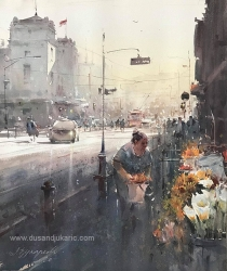dusan-djukaric-the-flower-seller-at-the-national-theater-watercolor-54x64-cm
