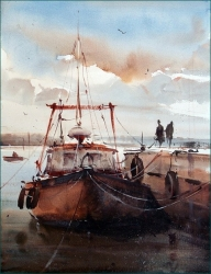 dusan-djukaric-tied-boats-watercolor-38x28-cm