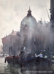 dusan-djukaric-two-boats-in-venice-watercolor-54x74-cm