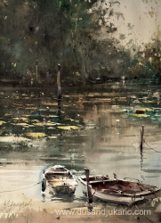 dusan-djukaric-two-old-boats-watercolor-74x54-cm
