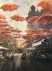 dusan-djukaric-u-senci-kiobrana-beograd-akvarel-54x74-cm