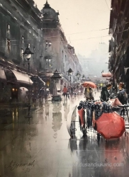 dusan-djukaric-umbrella-seller-in-knez-watercolor-74x54-cm